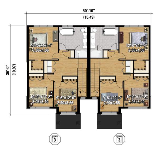 Contemporary Floor Plan - Upper Floor Plan Plan #25-4397