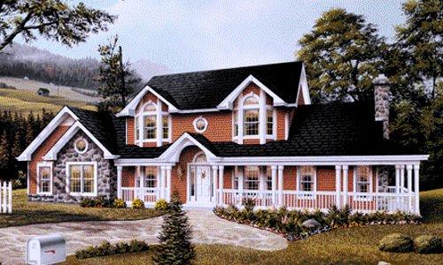 Farmhouse Exterior - Front Elevation Plan #57-135 - Houseplans.com