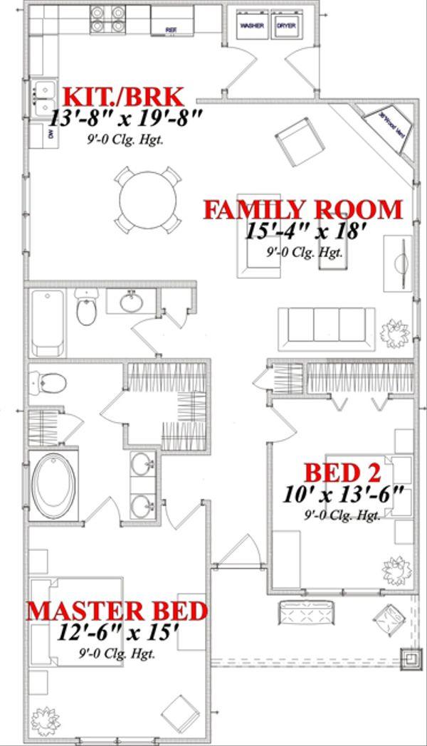 Bungalow Floor Plan - Main Floor Plan Plan #63-293