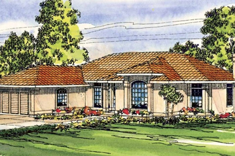 Mediterranean Style House Plan - 3 Beds 2 Baths 2105 Sq/Ft Plan #124-251 Exterior - Front Elevation