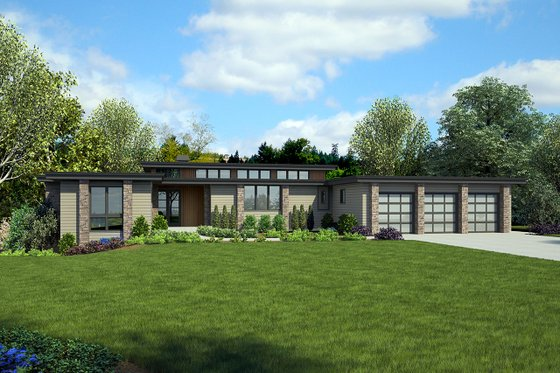 Modern Exterior - Front Elevation Plan #48-926