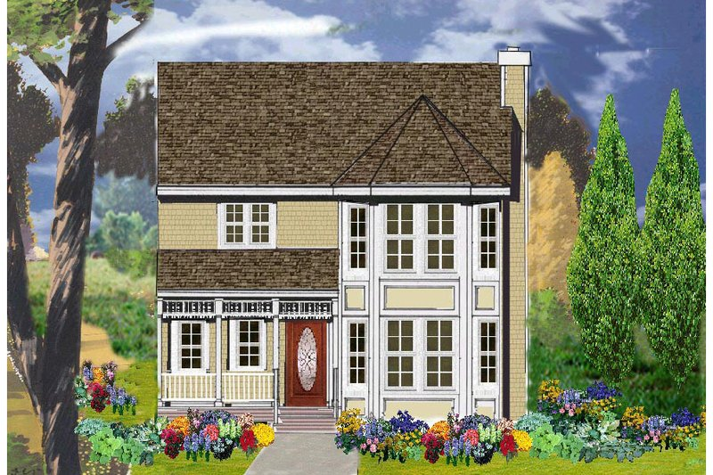 Victorian Style House Plan - 4 Beds 2.5 Baths 2373 Sq/Ft Plan #3-276 Exterior - Front Elevation