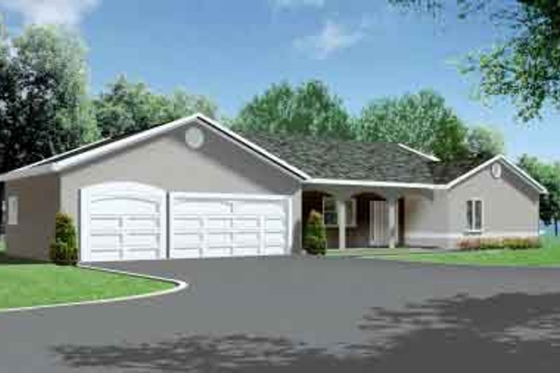 Mediterranean Style House Plan - 3 Beds 2 Baths 1975 Sq/Ft Plan #1-1390 Exterior - Front Elevation