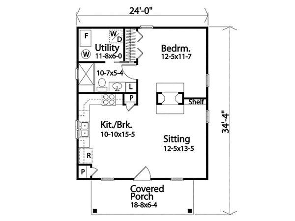Dream House Plan - Cottage Floor Plan - Main Floor Plan #22-590