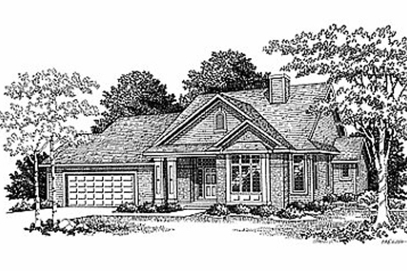 Traditional Style House Plan - 3 Beds 2.5 Baths 2128 Sq/Ft Plan #70-312 Exterior - Front Elevation