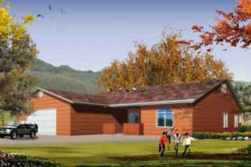 Ranch Style House Plan - 4 Beds 3 Baths 2841 Sq/Ft Plan #1-1200 Exterior - Front Elevation