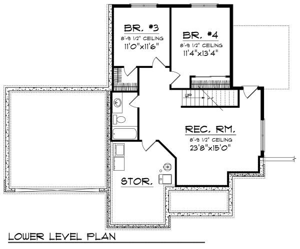 Cottage Floor Plan - Lower Floor Plan Plan #70-857