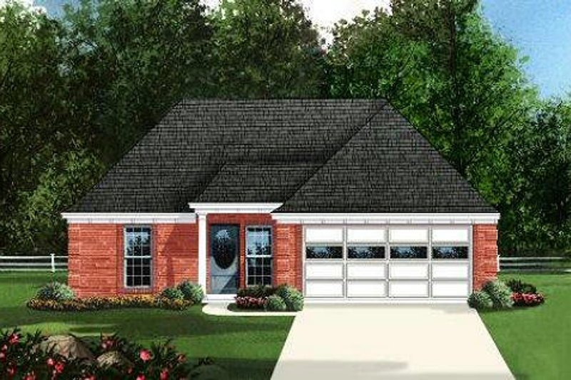 Traditional Style House Plan - 3 Beds 2 Baths 1143 Sq/Ft Plan #424-246 Exterior - Front Elevation