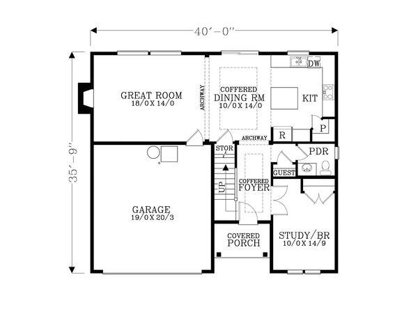 Craftsman Floor Plan - Main Floor Plan Plan #53-514