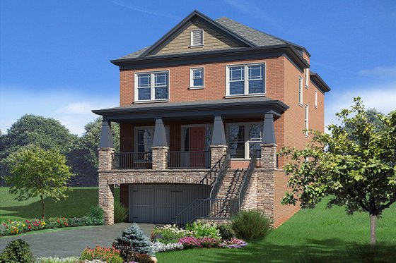 Craftsman Exterior - Front Elevation Plan #30-341