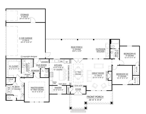 House Plan Design - Farmhouse Floor Plan - Main Floor Plan #1074-7