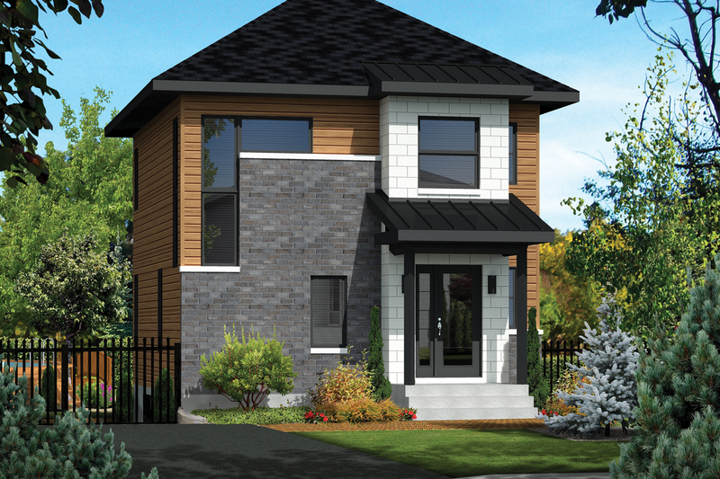 Contemporary Style House Plan - 2 Beds 1 Baths 1247 Sq/Ft Plan #25-4434 Exterior - Front Elevation