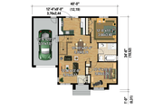Contemporary Style House Plan - 2 Beds 1 Baths 920 Sq/Ft Plan #25-4275 Floor Plan - Main Floor
