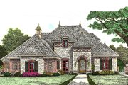 European Style House Plan - 4 Beds 3.5 Baths 2709 Sq/Ft Plan #310-964 Exterior - Front Elevation
