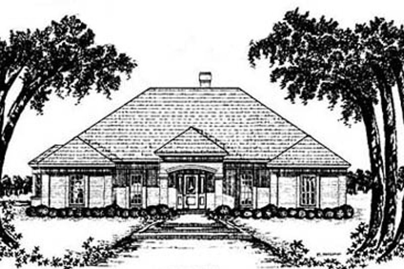 Southern Style House Plan - 4 Beds 2 Baths 2066 Sq/Ft Plan #36-180 Exterior - Front Elevation