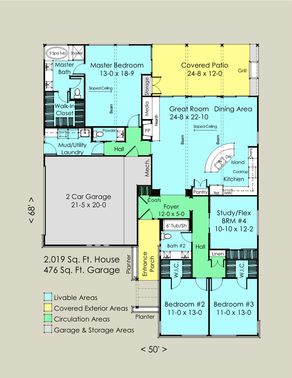 Contemporary Floor Plan - Main Floor Plan Plan #489-6