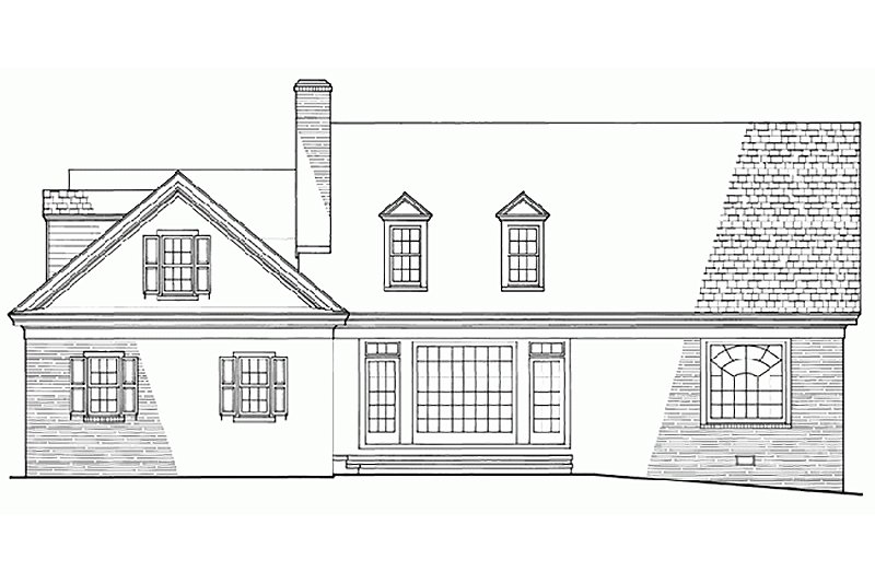 Southern Exterior - Rear Elevation Plan #137-167 - Houseplans.com