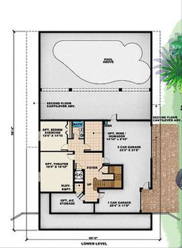Beach Floor Plan - Lower Floor Plan Plan #27-413
