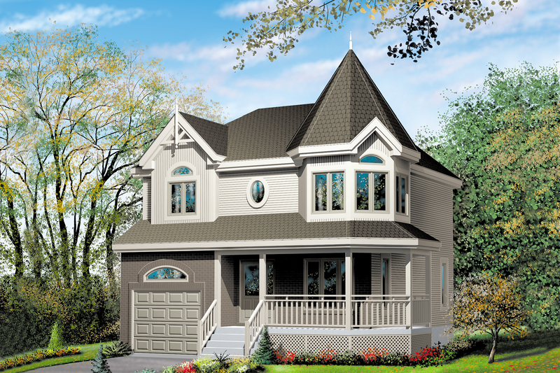 Victorian Style House Plan - 3 Beds 1.5 Baths 1452 Sq/Ft Plan #25-2172 Exterior - Front Elevation