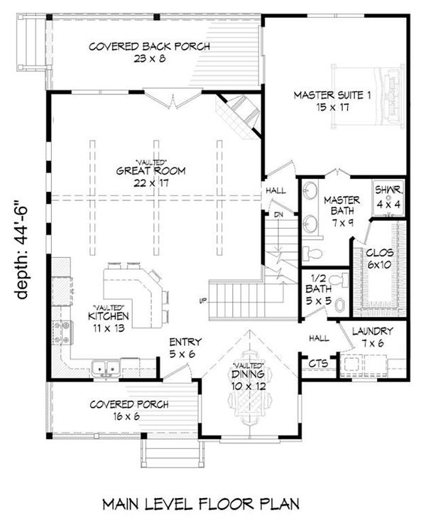 Country Floor Plan - Main Floor Plan Plan #932-12
