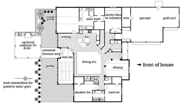 Country house plan with Craftsman details, floor plan