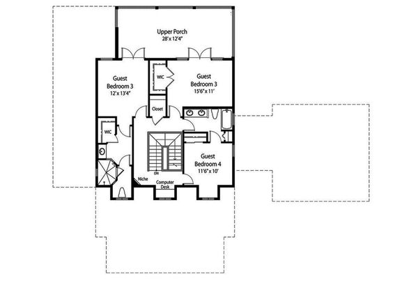 Traditional Floor Plan - Upper Floor Plan Plan #938-85