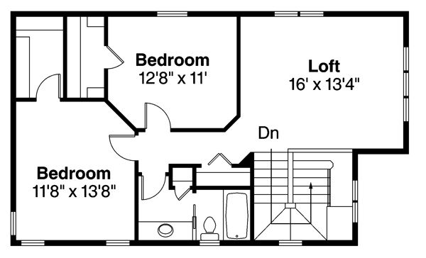 Traditional Floor Plan - Upper Floor Plan Plan #124-877