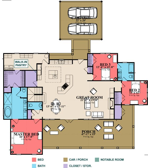 Craftsman Floor Plan - Main Floor Plan Plan #63-372