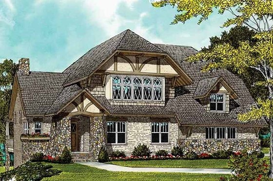Craftsman Exterior - Front Elevation Plan #413-106
