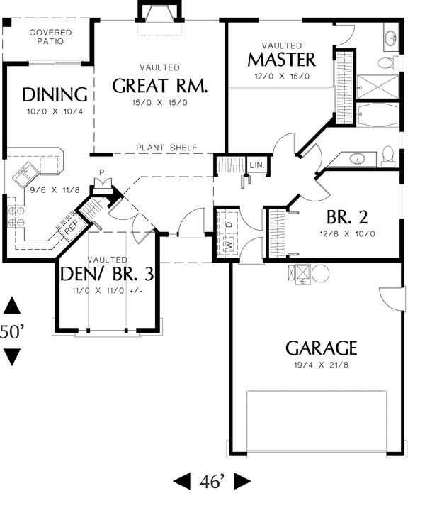 Ranch Floor Plan - Main Floor Plan Plan #48-581