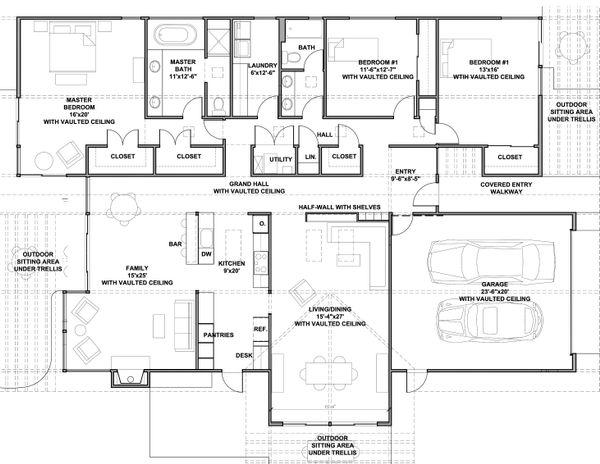 Contemporary style house plan, modern design by Robert Nebolon, floor plan