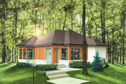 Contemporary Style House Plan - 3 Beds 1 Baths 1208 Sq/Ft Plan #25-1223 Exterior - Front Elevation