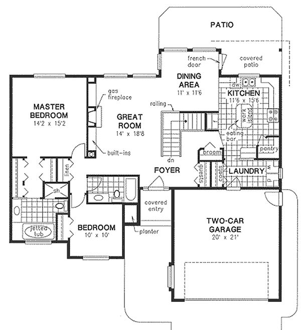 Architectural House Design - Craftsman Floor Plan - Main Floor Plan #18-1017