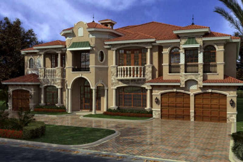 Mediterranean Style House Plan - 7 Beds 8.5 Baths 7883 Sq/Ft Plan #420-249 Exterior - Front Elevation