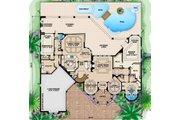 Mediterranean Style House Plan - 4 Beds 4.5 Baths 7948 Sq/Ft Plan #27-561 Floor Plan - Main Floor Plan