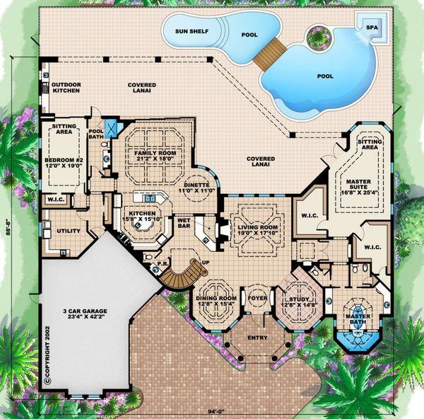 Mediterranean Floor Plan - Main Floor Plan Plan #27-561