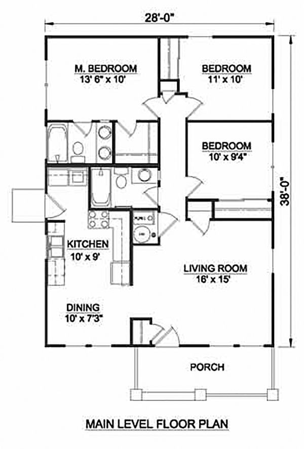 Craftsman Floor Plan - Main Floor Plan Plan #116-304