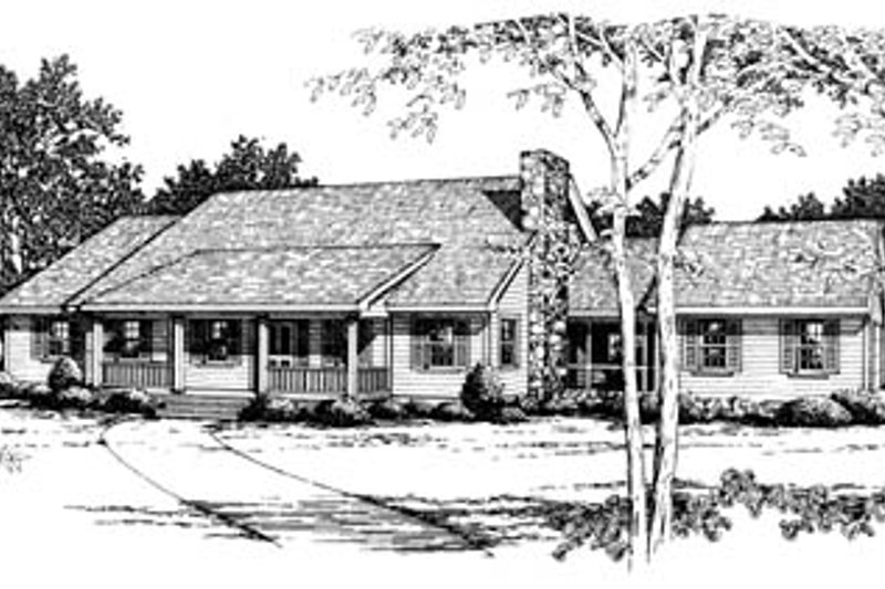 Ranch Style House Plan - 3 Beds 2 Baths 1811 Sq/Ft Plan #10-138 Exterior - Front Elevation