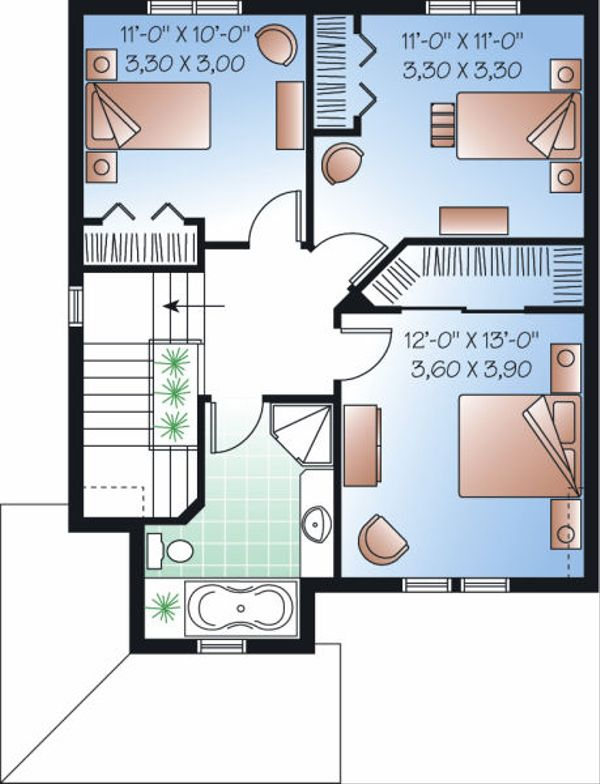 Traditional Floor Plan - Upper Floor Plan Plan #23-740