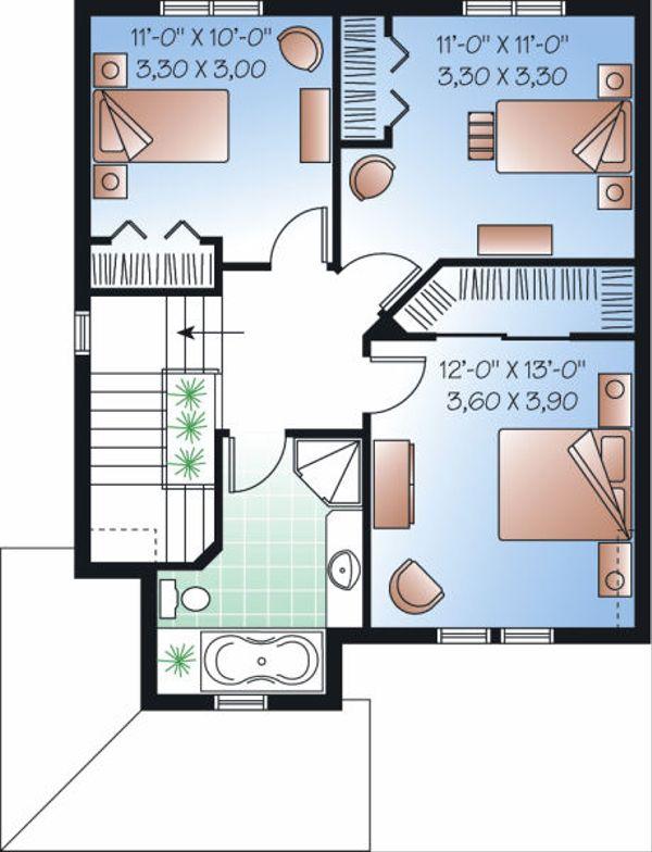 Traditional Floor Plan - Upper Floor Plan Plan #23-740