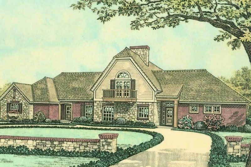 Country Style House Plan - 3 Beds 2.5 Baths 2399 Sq/Ft Plan #310-617 Exterior - Front Elevation