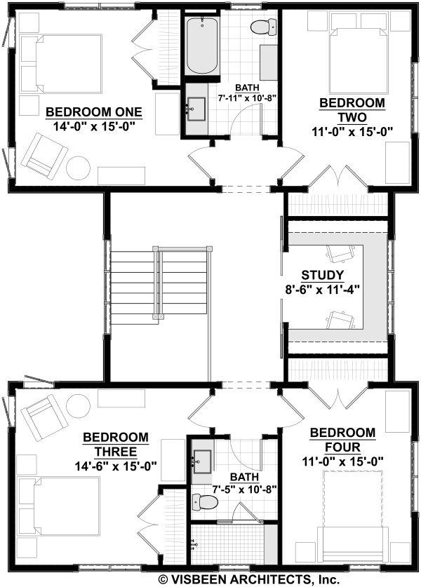 Farmhouse Floor Plan - Upper Floor Plan #928-324