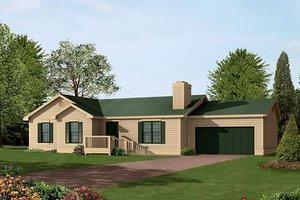 Ranch Exterior - Front Elevation Plan #57-215
