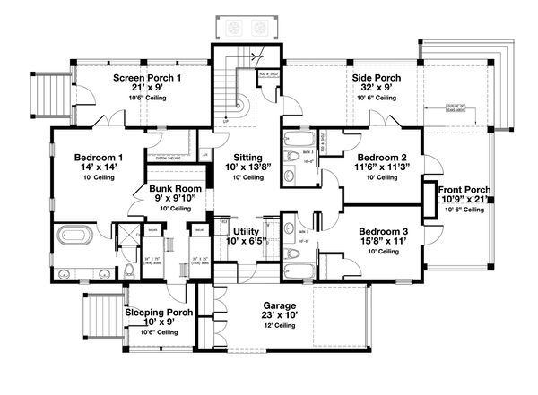 Beach Floor Plan - Main Floor Plan Plan #443-13