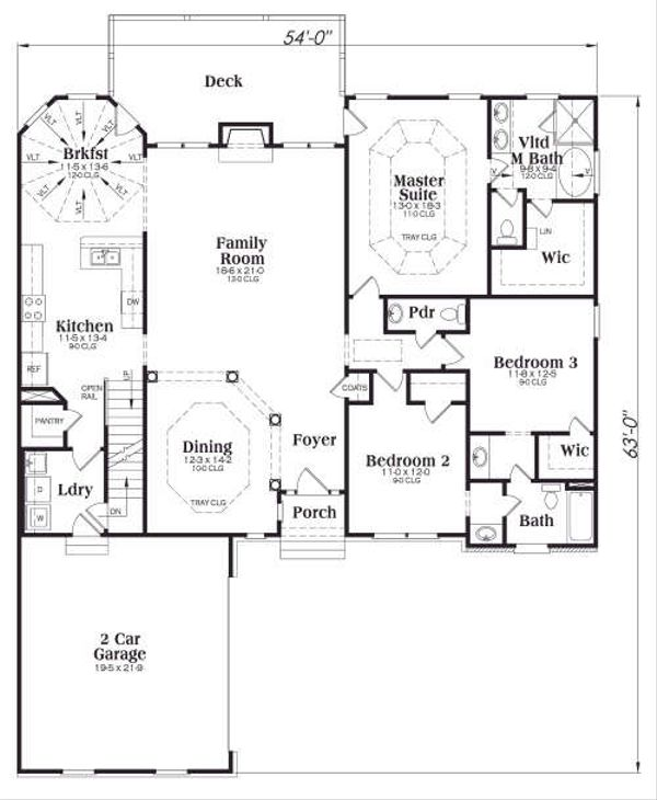 Traditional Floor Plan - Main Floor Plan Plan #419-146
