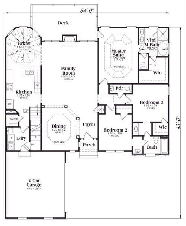 Traditional Floor Plan - Main Floor Plan Plan #419-146