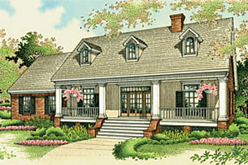 Southern Exterior - Front Elevation Plan #45-134