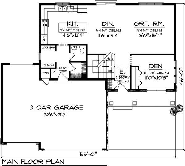 Ranch Floor Plan - Main Floor Plan Plan #70-1099