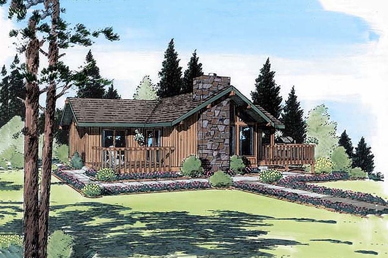 Contemporary Style House Plan - 2 Beds 2 Baths 1137 Sq/Ft Plan #312-425