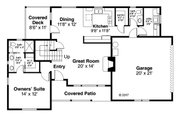 Country Style House Plan - 3 Beds 2.5 Baths 1536 Sq/Ft Plan #124-1060 Floor Plan - Main Floor